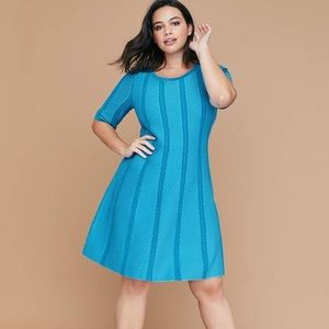 Lane Bryant Textured Fit & Flare Sweater Dress